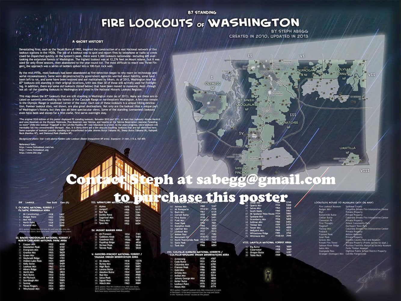 Map Of Standing Fire Lookouts In Wa State Photos Diagrams Topos