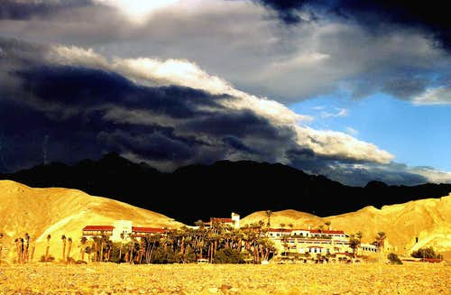 Heavy sky over Furnace Creek Inn
