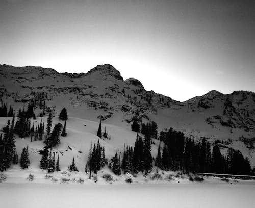 Mt. Dromedary & Sunrise Peak from Lake Blanche