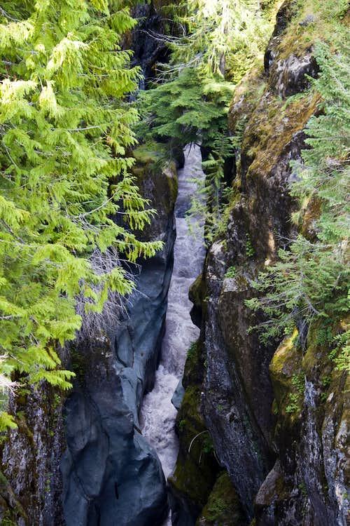 Deep Narrow Box Canyon Frothing 115' Below