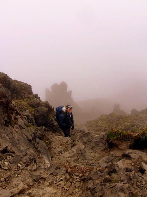 Climbing Imbabura.