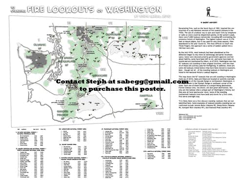 Map of Standing Fire Lookouts in WA state