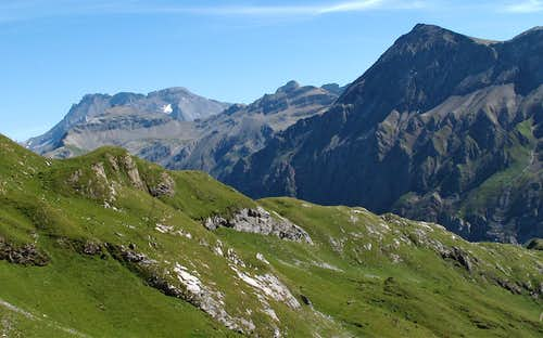 Looking behind to the Wildstrubel (3243m) from the path above the Iffigsee lake