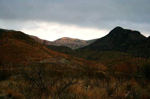 Alpenglow on the Chisos Mountains