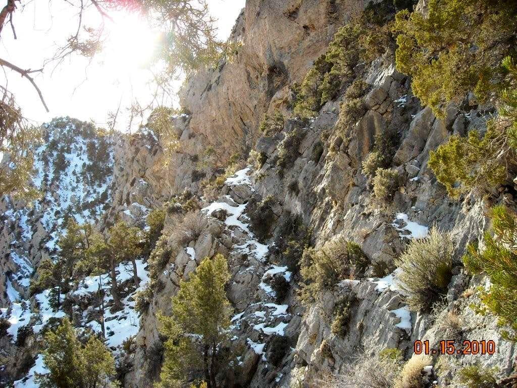 Ledge through cliffs