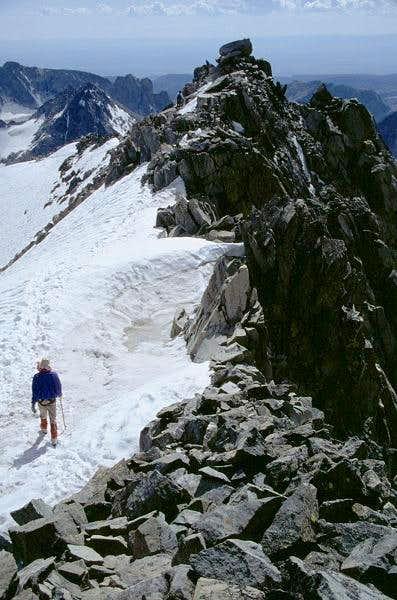 Duane steps onto the snow...