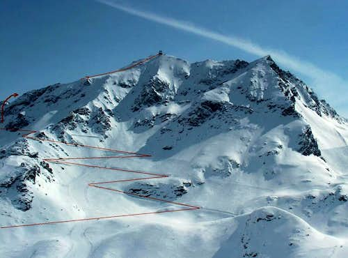 Aiguille Rouge: route marked in RED