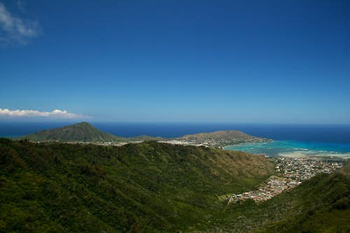 View of the Southeast Point of Oahu from the Ko\'olau Mountains
