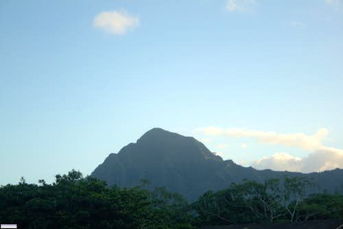 Puu Ohulehule Towers over Kahana Valley
