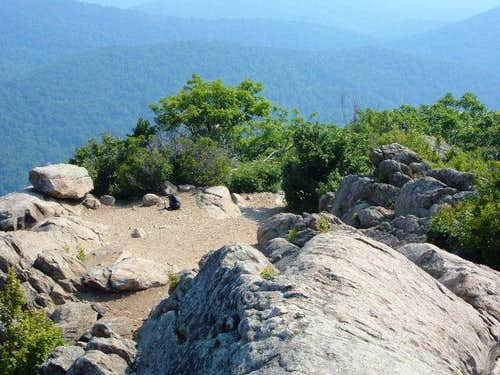 View back to the summit area,...