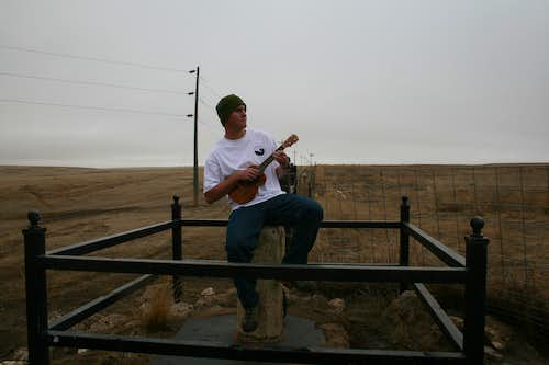 Playing Ukulele in 3 States at once, on the Nebraska-Colorado-Wyoming Tri State Marker