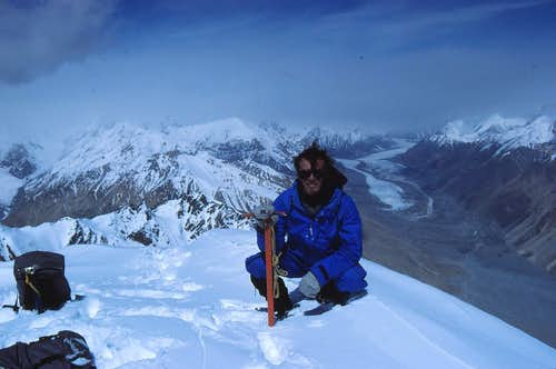 On summit of 6050m peak above K2 North Ridge BC