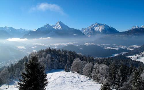 Watzmann (2713m) and Hochkalter (2607m) seen from Kneifelspitze above Berchtesgaden