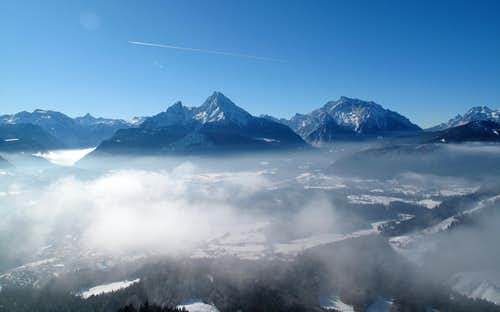 Watzmann (2713m) and Hochkalter (2607m) seen from Kneifelspitze above Berchtesgaden
