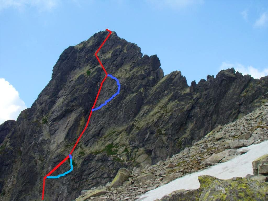 South face - Häberlein route (Droga Haberlaina)