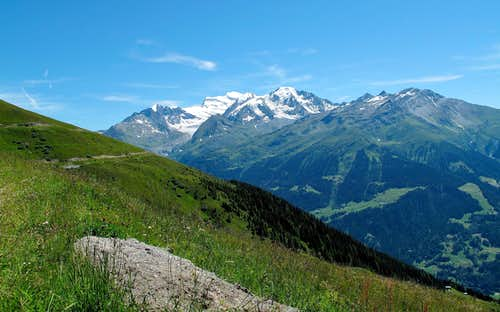 Grand and Petit Combin seen from Ruinettes above Verbier