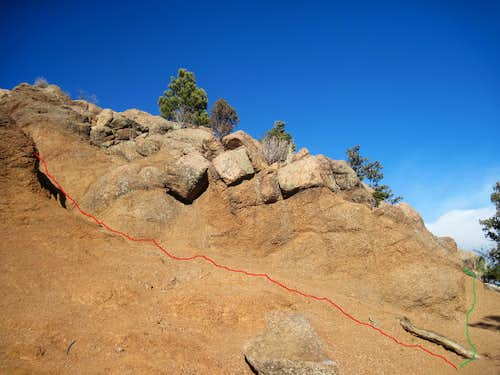 Ascending the summit outcrop