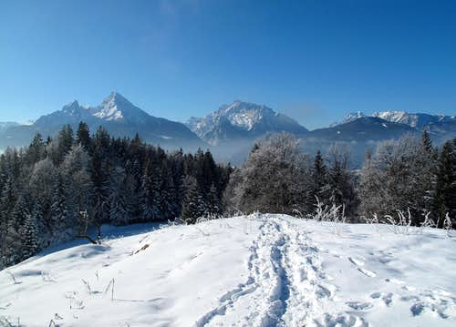 Watzmann, Hochkalter and Reiteralpe seen from the Kneifelspitze trail