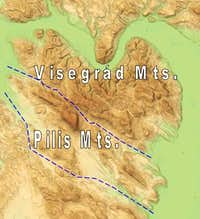 Overview map of Pilis and Visegrád Mountains