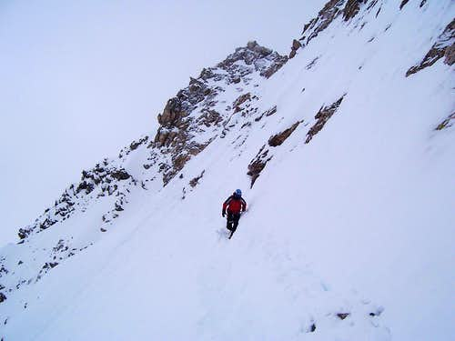 Descending from the crux pitch