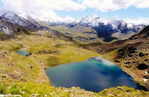 The two lower Lussert lakes and the upper part of Grauson valley, Punta Tersiva included