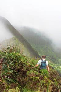 Me on Ridgeline Between the Peaks of Konahuanui, Highest Point of the Ko'olau Mountains (Photo by Nathan Yuen)