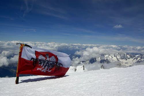 my flag on the peak of Mount Blanc