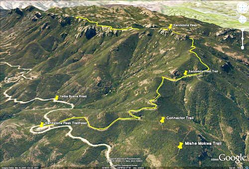 Sandstone Peak Trail - Google Earth