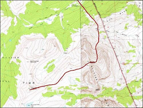 Topographic map of the route to Eagle Plume Mountain
