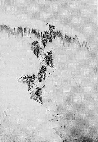 The first ascent of the Wetterhorn