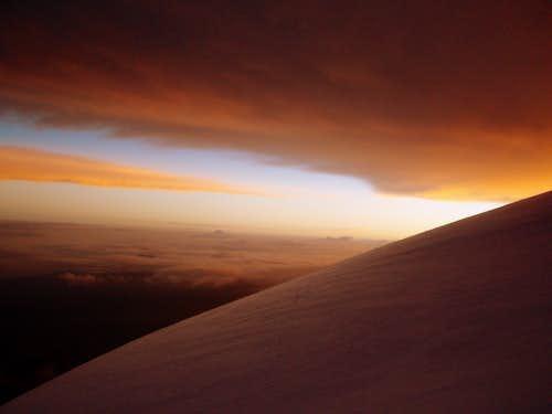 Sunrise below the summit.