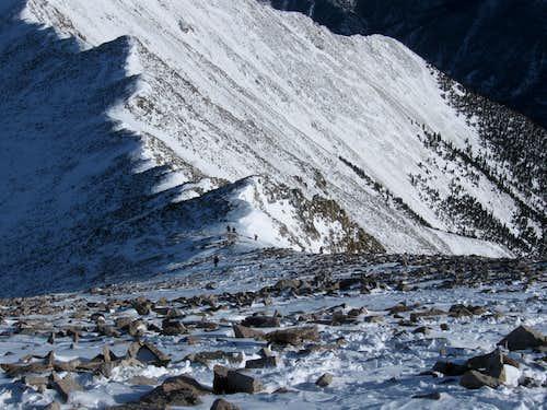 Descending the east ridge
