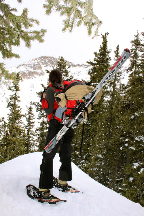 snowshoes, skis, mountains