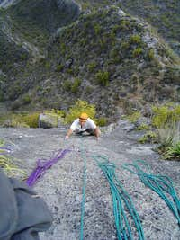 Top of pitch 10. Our rope management was improving