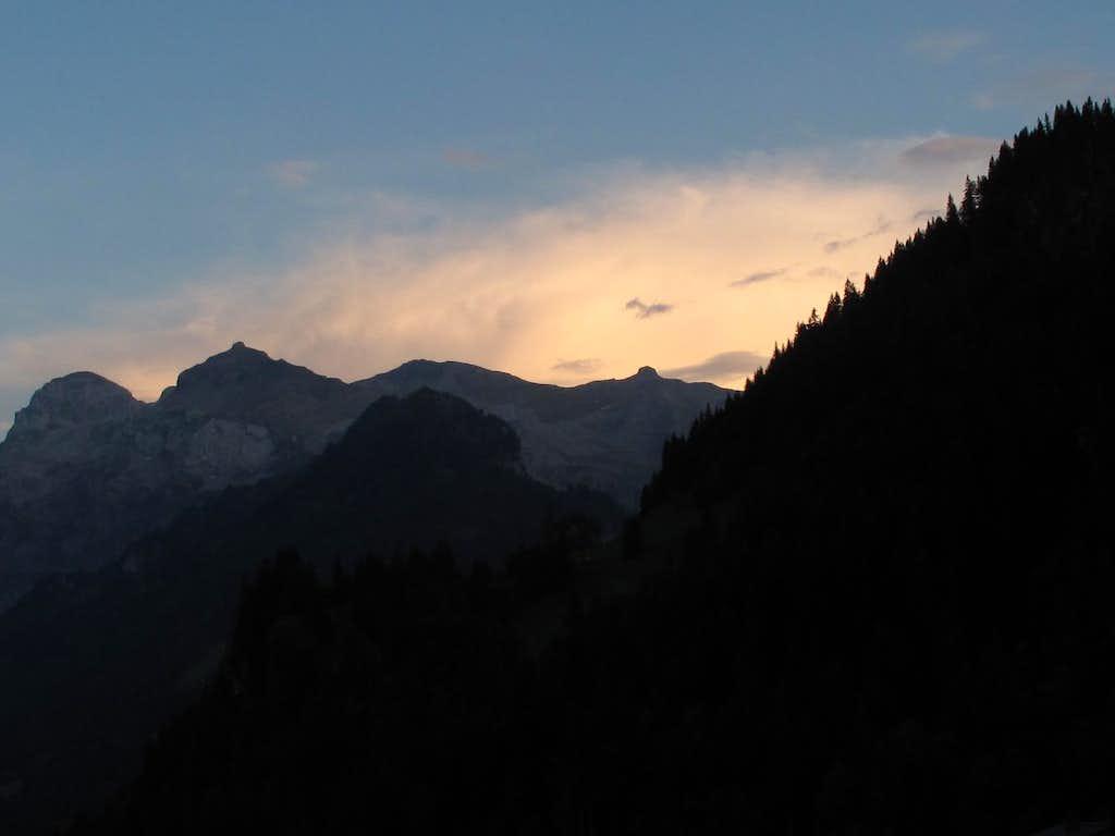 Beautiful evening glow above Lenk