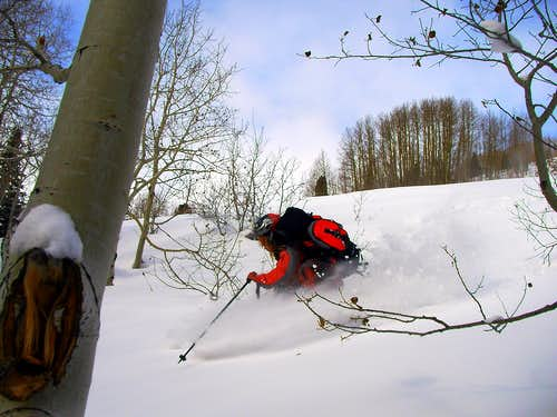 Me skiing Willow Fork