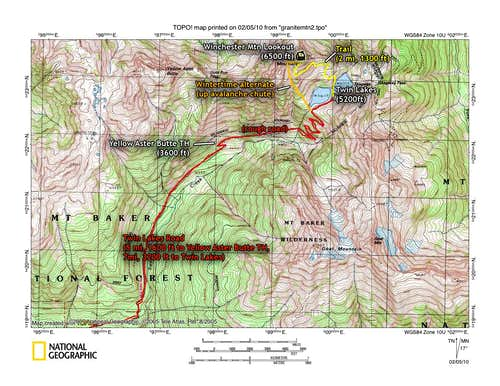 Winchester Lookout/Mtn approach map