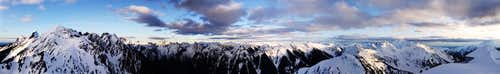 Panoramic winter view from Winchester Mtn Lookout, North Casades