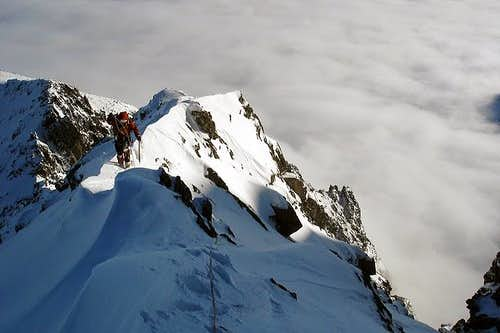 Climbing the ridge from Huncovska pass to Kezmarsky stit