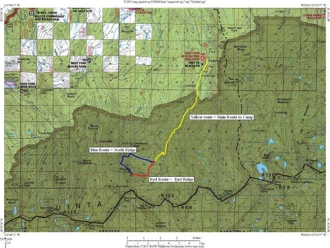 Overview of Route to camp and...
