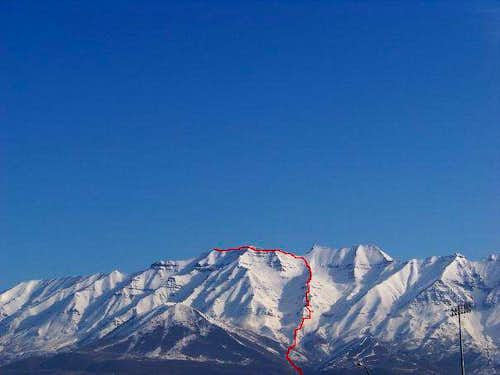 Timpanogos, west face/ winter ascent.