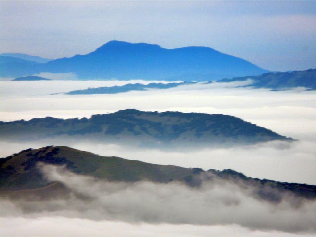 Mt. St. Helena 4,343' from Mt. Tamalpais, 2,571'