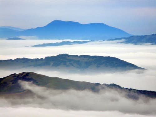 Mt. St. Helena 4,343\' from Mt. Tamalpais, 2,571\'