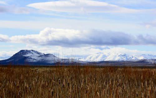 Flagstaff Butte, Pueblo Mountain and cattails