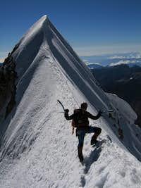 on the ridge leading to huayna potosi foresummit