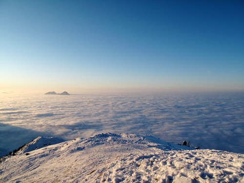 The Hochstaufen (1774m) jutting out of the sea of clouds