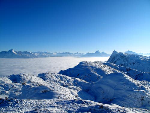 The Untersberg plateau and the Berchtesgaden Alps behind the sea of fog