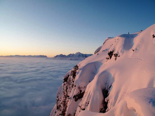 Early morning view from the Geiereck (1805m) to the Hoher Göll (2524m)