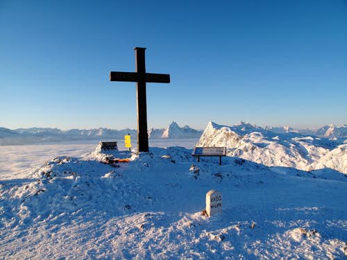 The summit of the Salzburger Hochthron in the early morning