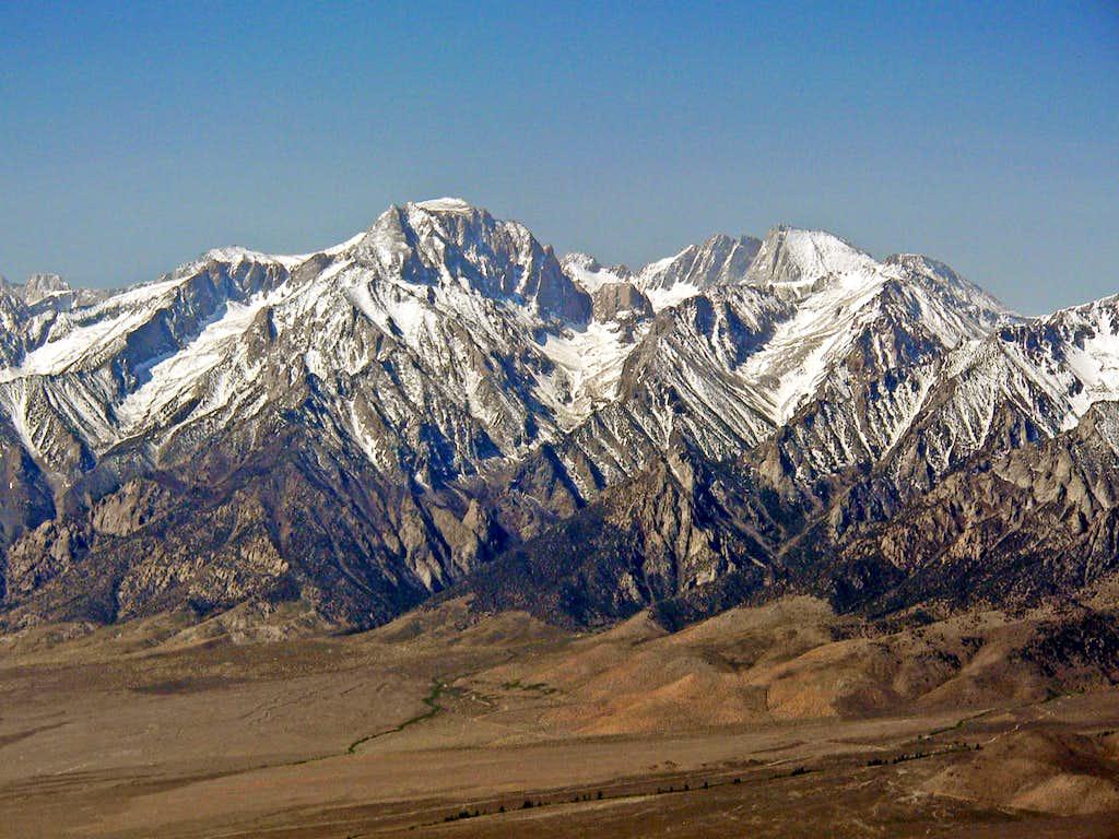 Mt. Williamson 14,375' and Mt. Tyndall 14,018'  from Mazourka Peak